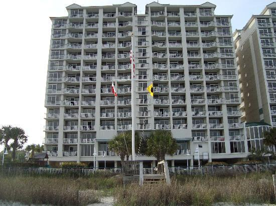 view from the beach picture of hampton inn suites. Black Bedroom Furniture Sets. Home Design Ideas