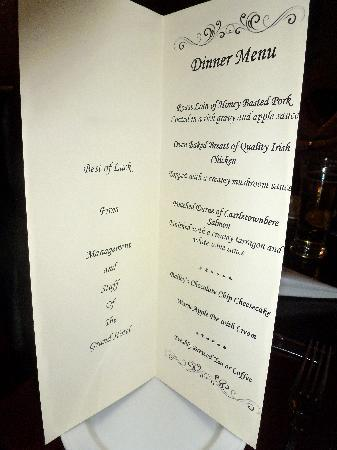The Grand Hotel Tralee: Personalized menus from The Grand
