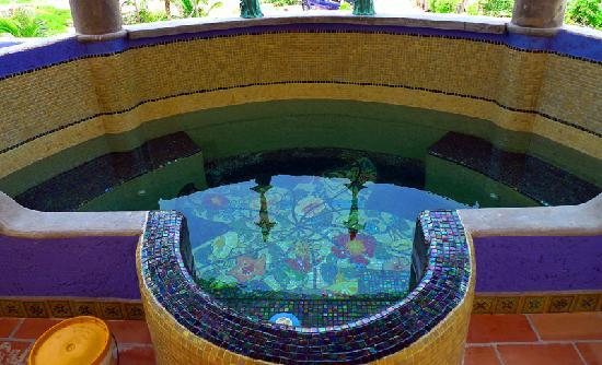 The Taj Majahual: End your day exploring the Costa Maya with a refreshing dip in our custom mosaic tiled plunge po