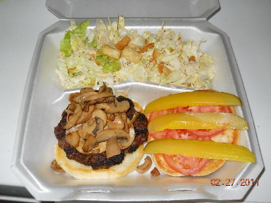 JJ's Snack Shack: Mushroom burger with side Ceasar Salad