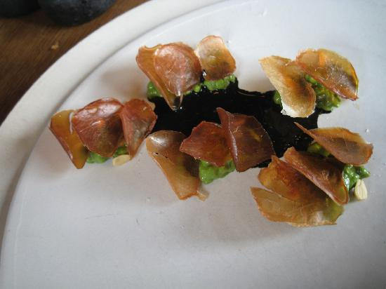 Noma: Dried thinly sliced scallops with beech nut, watercress and grains in a squid ink
