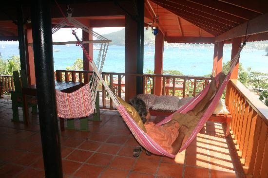 Relaxing on the deck area of The Sweet Retreat