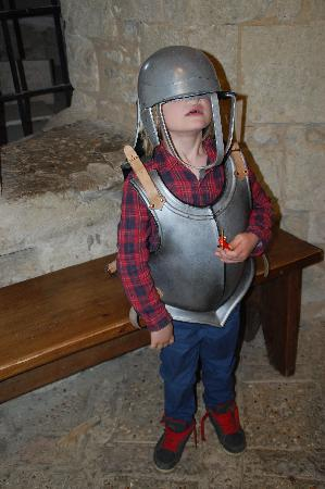 Newport, UK: Trying on armour