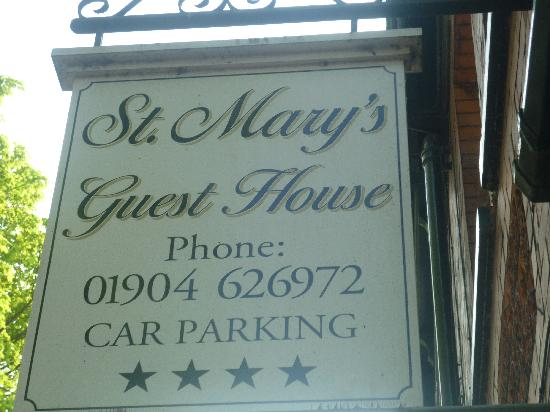St. Mary's Guest House: st marys sign
