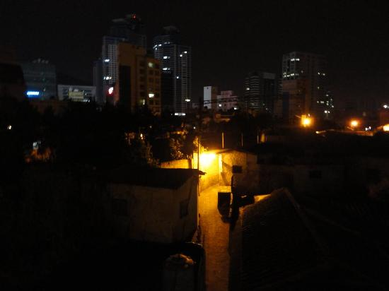 Nighttime view from the terrace of Blue Backpackers hostel.