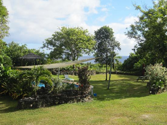 Alofi, Niue : View from the cottage over the pool & out to sea