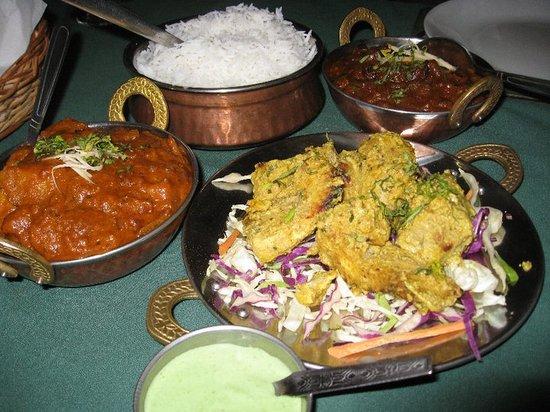 Master of India Restaurant: Fish tikka, chicken baltic okra and aloo ghoobi
