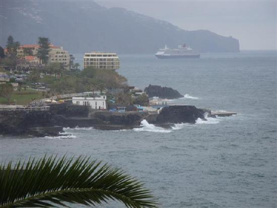 "Madeira Regency Cliff: "" Queen Victoria"" arriving in Funchal. Taken fron our balcony"