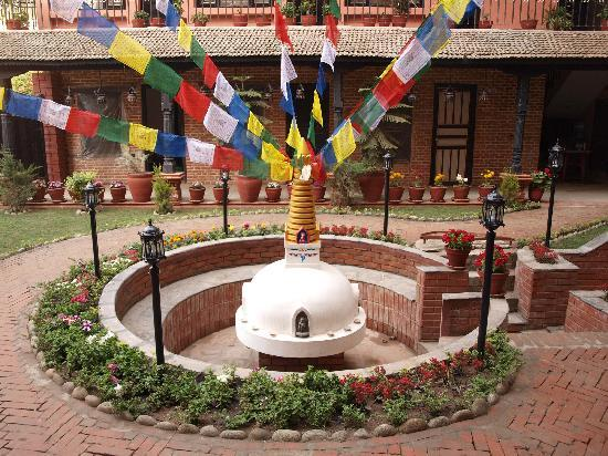 Stupa in garden at Thamel Eco Resort