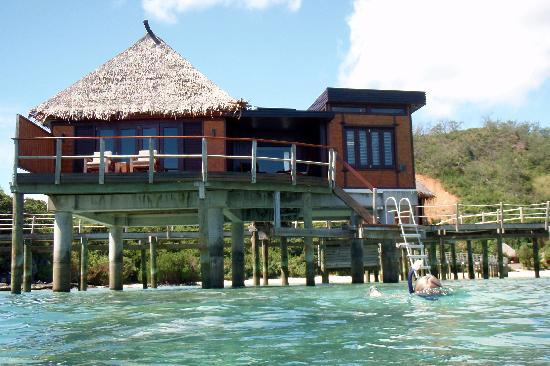 Likuliku Lagoon Resort: Overwater bure from the water.