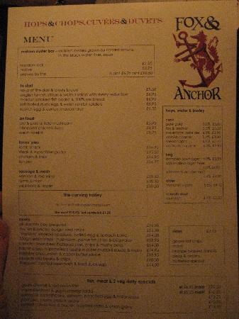 Fox & Anchor : The menu