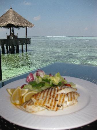 Four Seasons Resort Maldives at Kuda Huraa: Fresh caught fish (by me) for lunch