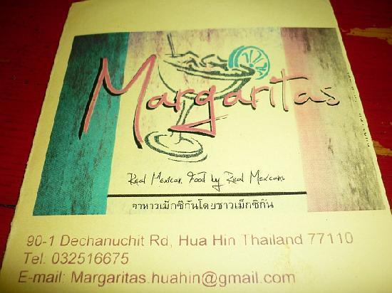 Margaritas: menu