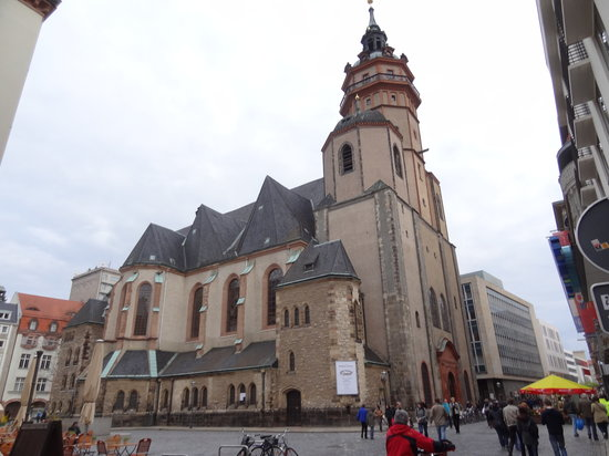 Leipzig, Jerman: Beautiful St Nicholas Church seen from the north