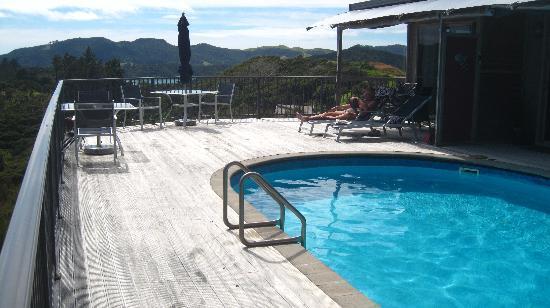 Waimanu Lodge Whangaroa Northland: The pool and decking