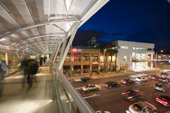 Bellevue Collection's skybridge at night