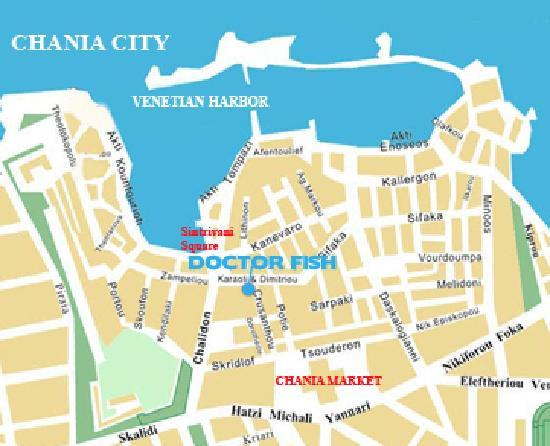 Map of Chania Picture of Doctor Fish Foot Spa Reflexology
