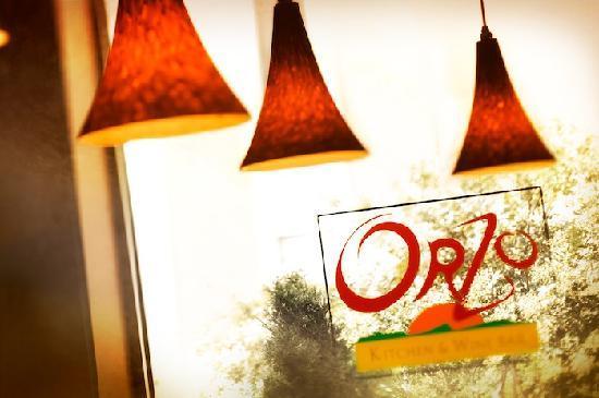 Orzo Kitchen & Wine Bar: Window with Logo