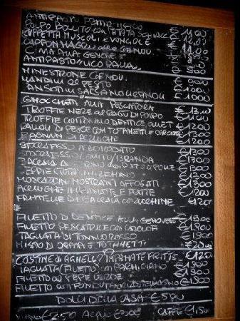 Antica Osteria di Vico Palla: Il menu'