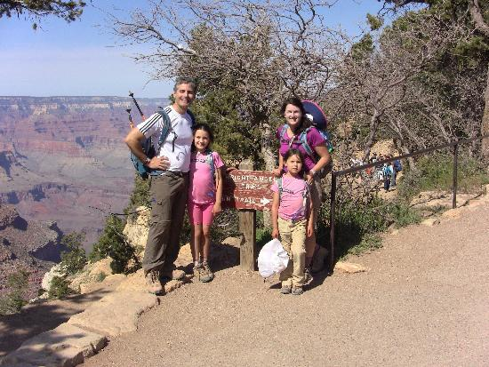 Bright Angel Trail: At the top of Bright Angel, ending our hike up