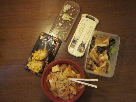 St. Sushi: Take away: grilled tofu salad, vegetable and tofu ramen with kimuchi, inari sushi with corn.