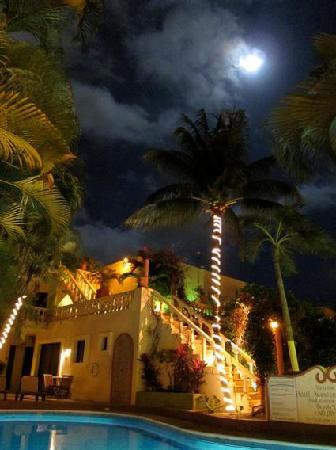 View from Mayan Bistro Garden at Night
