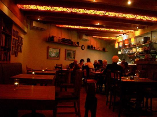 Ima Cuisine: View of the restaurant from our window seat; dimly lit and romantic