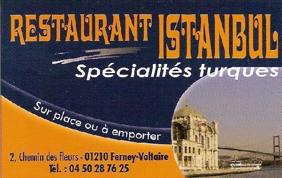Restaurant Istanbul Carte De Visite