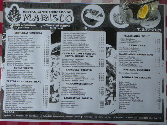 Mercado de Mariscos: Menu at Mercado de Marisco