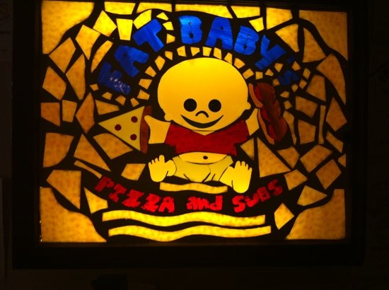 Fat Baby's Pizza & Subs: stained glass in back