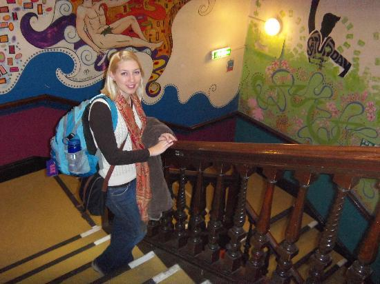 Caledonian Backpackers: An example of the murals in the background.