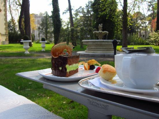 Patrick Hellmann Schlosshotel: tea and cake at the garden