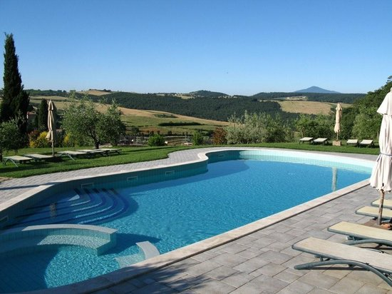 The pool at Sant' Antonio with views of our farm land