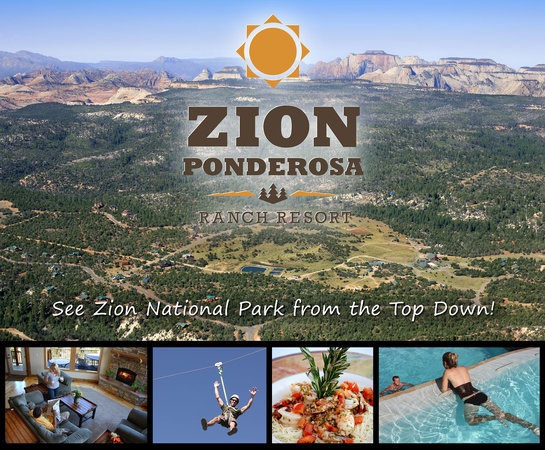 Zion Ponderosa Ranch Resort: An aerial view of the resort with small images of activities and services