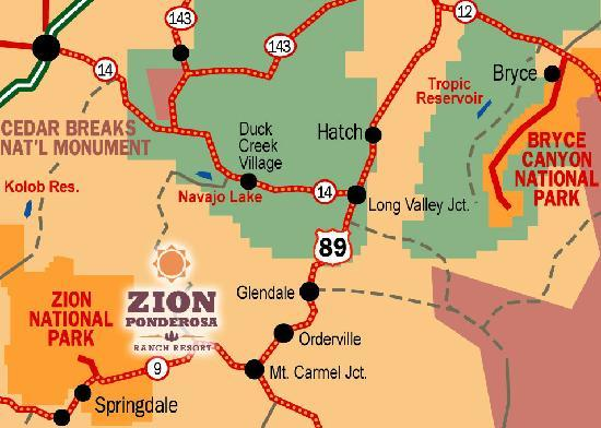 A map of our location on the border of Zion National Park ...