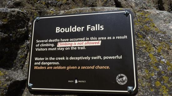 Boulder Falls: heed the warning and stay on the trail, but don't let this scare you.