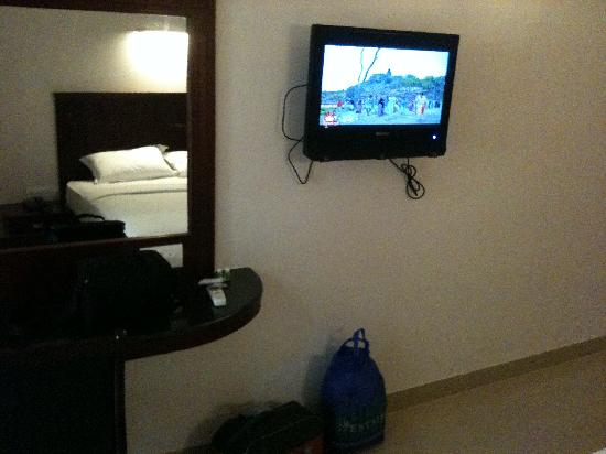 the wall mounted lcd tv at hotel queen palace, rameswaram