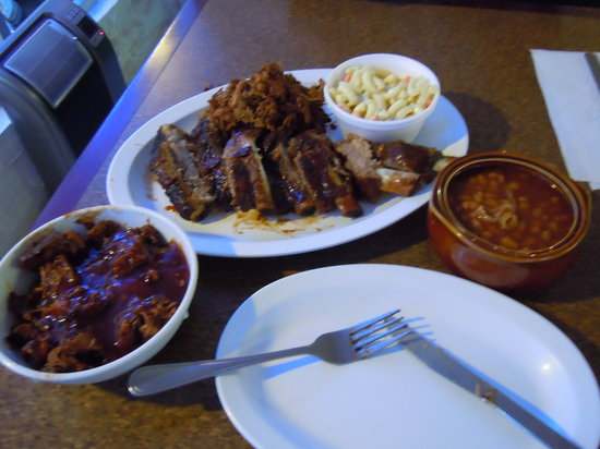 Fat Daddys BBQ Shak & Six Pac: combo platter of ribs, pulled pork, brisket, mac salad and beans