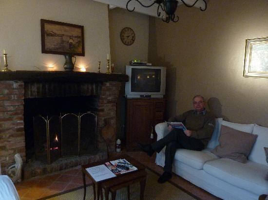 Villa Boréas : Près du feu de bois dans le salon.