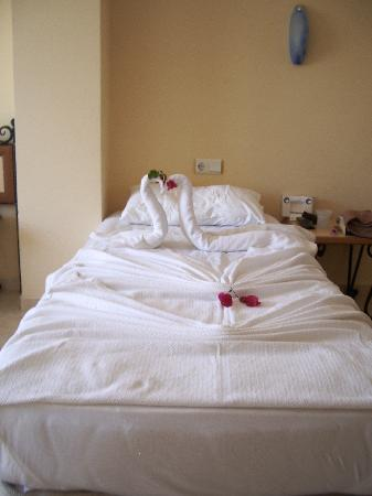 Hotel Sunberk: swans on bed