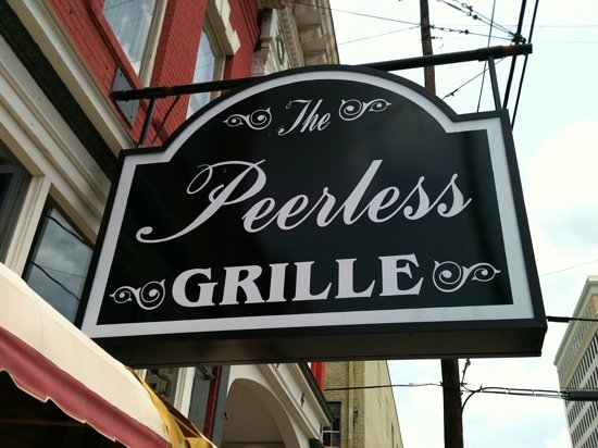 Peerless Saloon and Grille: sign out front