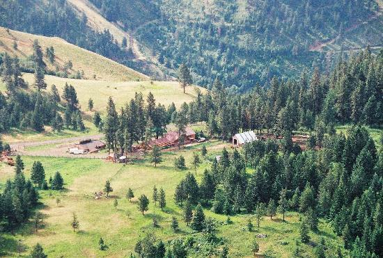 Whitebird Summit Ranch: arial view of the lodge property