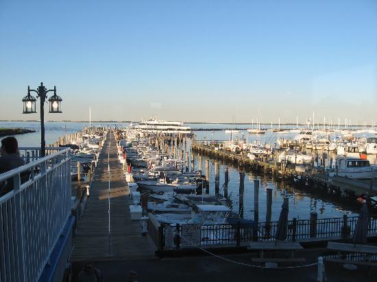 Atlantic Highlands, NJ: View from inside showing adjacent docks and outdoor dining (at left side).