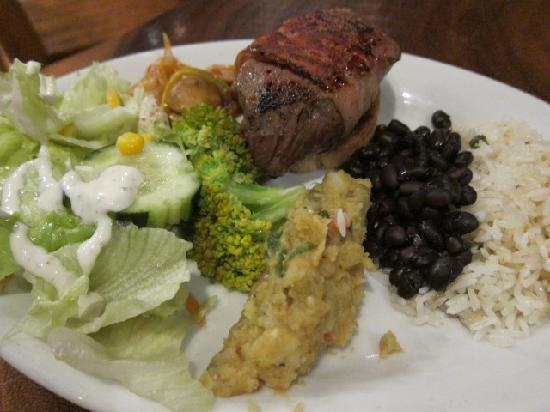 Corky Carroll's Surf School: The food is always delicious: two kinds of salads, beans, rice, and beef wrapped in bacon