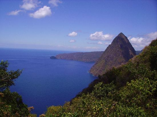 Pitons: view from halfway point