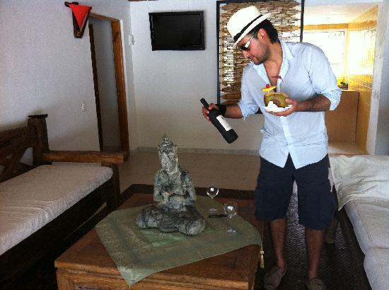 Playa Tranquilo: my husband finding our welcome bottle of wine
