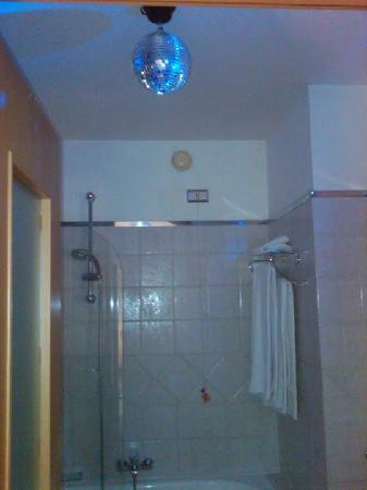 hotel franklin feel the sound bathroom with a disco ball night light
