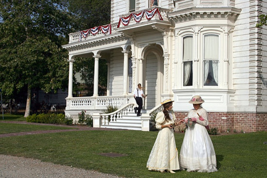 Los Angeles, CA: Heritage Square volunteers in front of the 1876 Perry Mansion. Photo courtesy of CHF, All rights