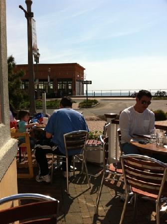 Turning Point: patio seating with view of ocean