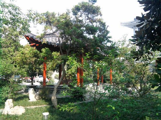 Pavilion in garden at Yangzhou Cuiyuan City Hotel.